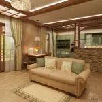 Кухня в стиле шале совмещенная с гостиной