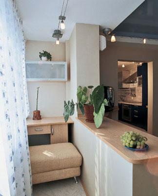 кухня расширенная за счет балкона