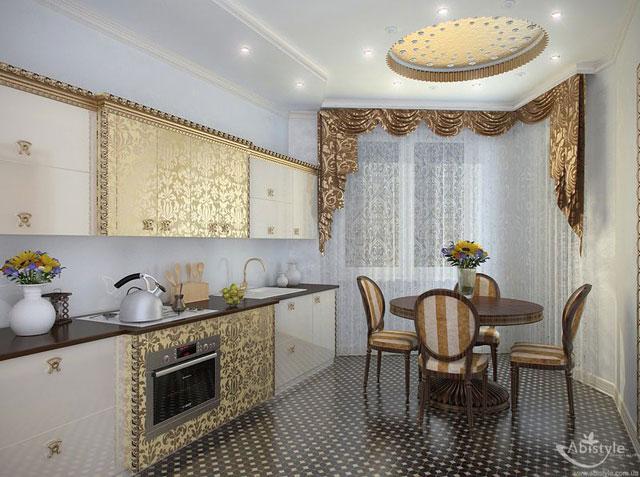 Золото - непременный атрибут кухни в данном стиле