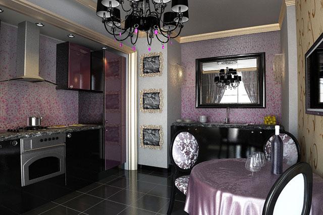 Кухня в стиле арт-деко фиолетового цвета
