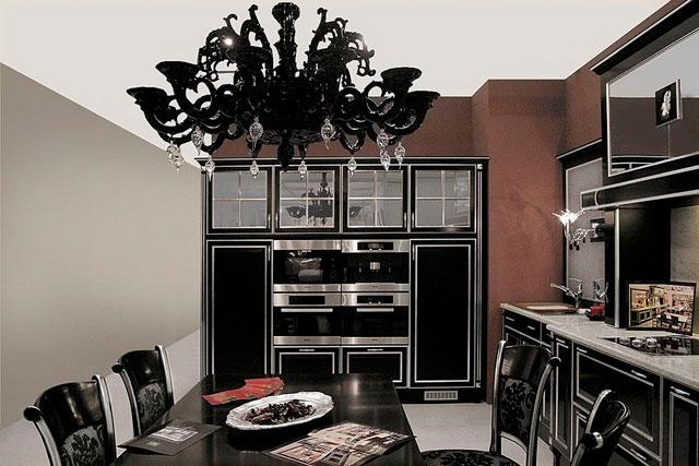Черная кухня в стиле арт-деко