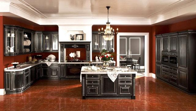 Дорогой интерьер кухни в частном доме