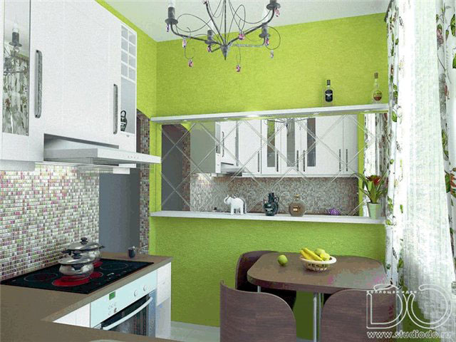 Зеркало на кухне зрительно увеличивает пространство - идеальный выбор для хрущевки