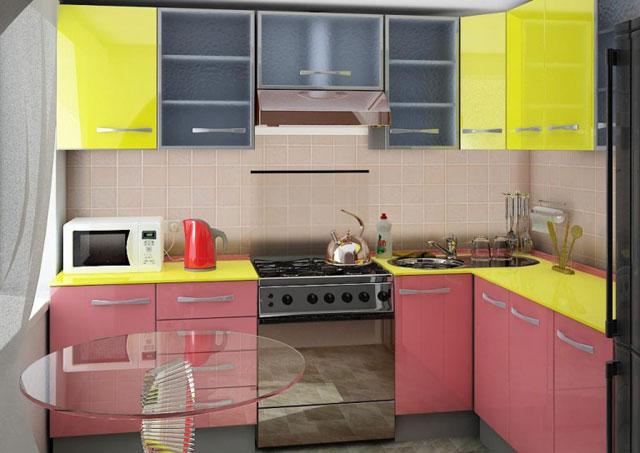 Кухня в хрущевке глянцевая