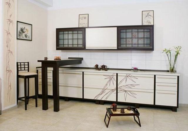 Дизайн кухни в японском стиле - мебель и аксессуары