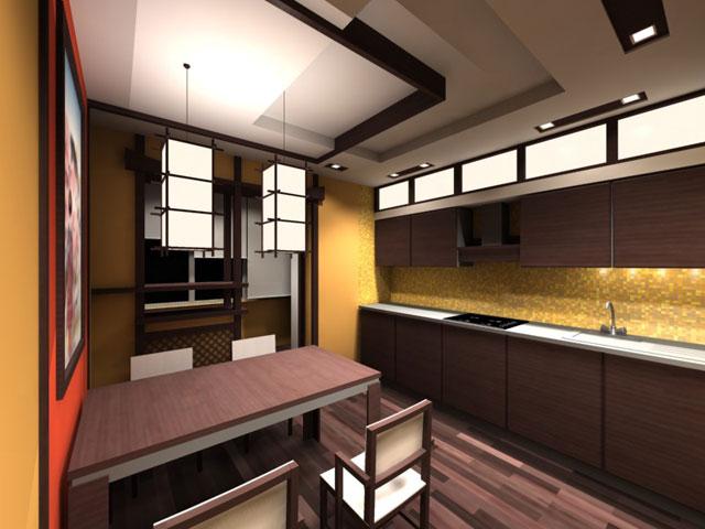 Минималистский дизайн кухни в японском стиле
