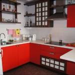 Дизайн кухни в японском стиле в красном цвете
