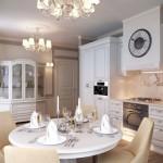 Дизайн белой кухни в стиле классика