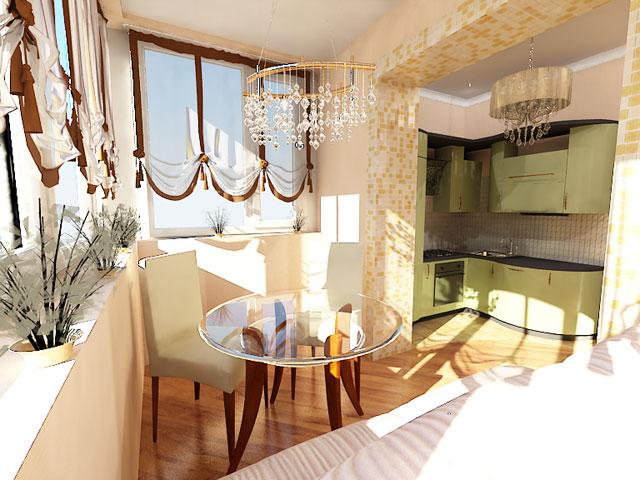 Дизайн кухни с балконом - фото кухни, совмещенной с балконом