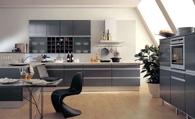 Угловая кухня в стиле хайтек