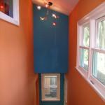 Сочетание цветов в интерьере кухни - оранжевый и голубой