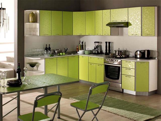 Дизайн зеленой кухни с угловой тумбой