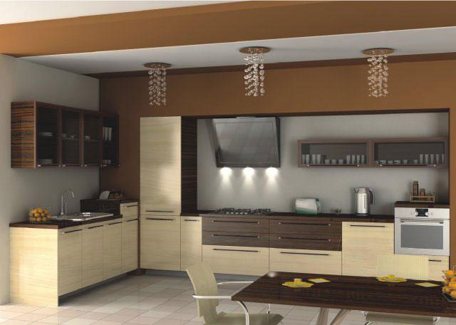 Дизайн светлой угловой кухни