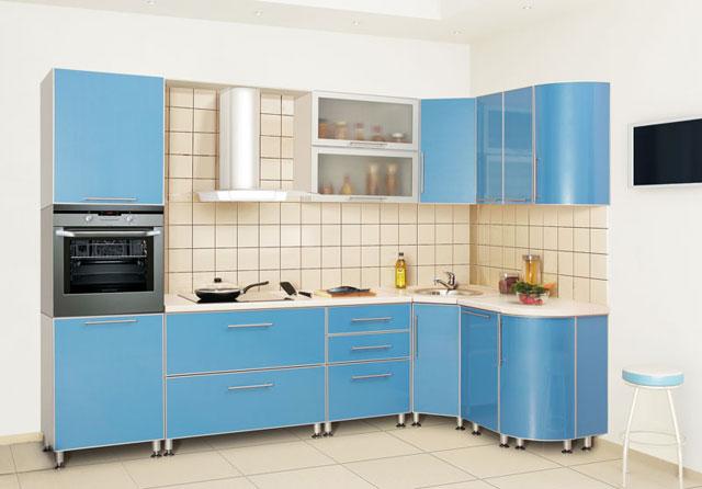 Дизайн угловой кухни из пластика