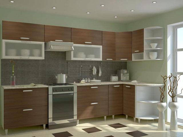 Дизайн угловой кухни из МДФ