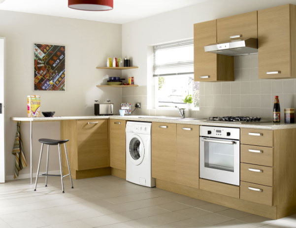 Дизайн угловой кухни со стиральной машиной