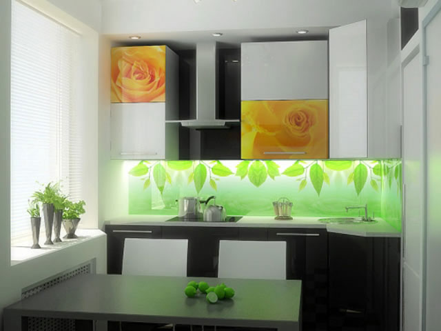 Фартук для угловой кухни из стекла с подсветкой