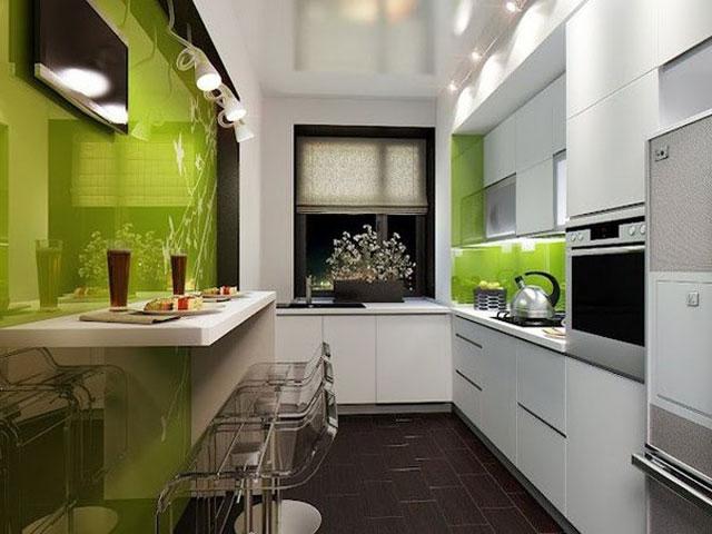 Мебель для узкой кухни в стиле минимализм и хай тек