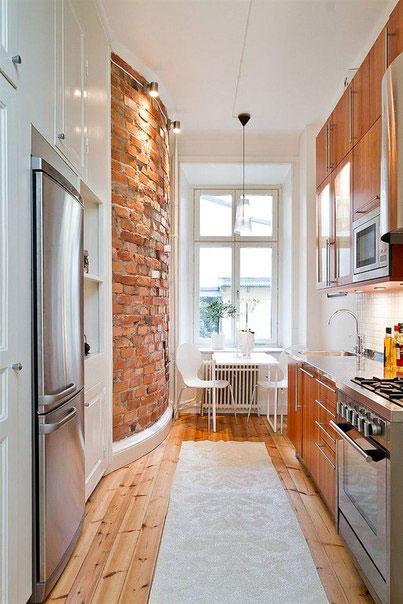 Выбираем дизайн длинной узкой кухни