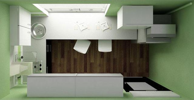 Планировка узкой кухни