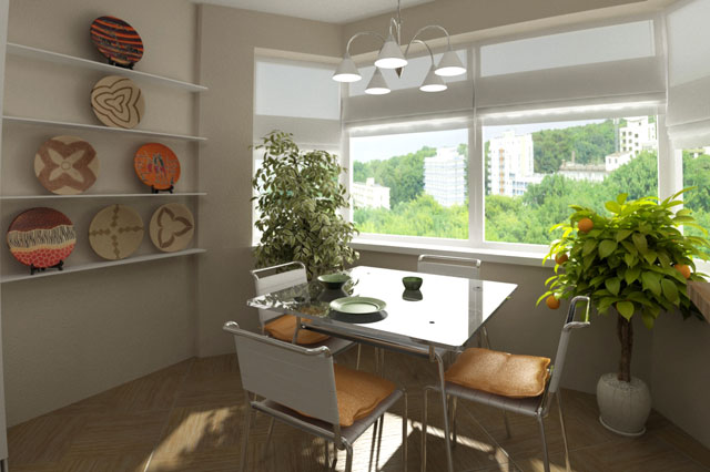 дизайн кухни с эркером фото