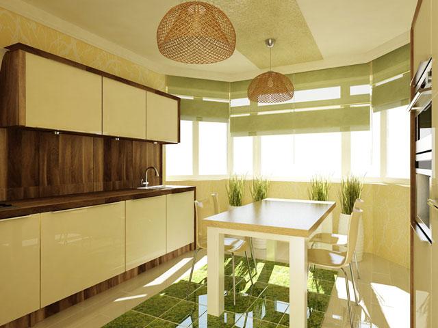 дизайн проект кухни с эркером
