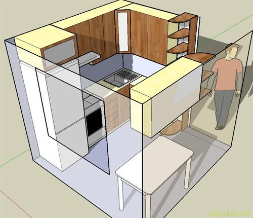 Схема дизайна маленькой кухни
