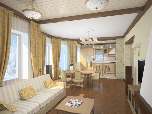 подвесной потолок на кухне совмещенной с гостиной