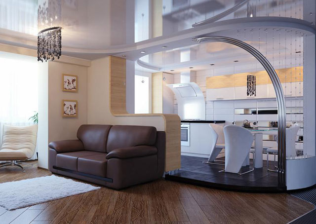 дизайн кухни совмещенной с гостиной фото