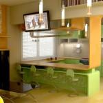 кухонные гарнитуры для маленькой кухни с барной стойкой