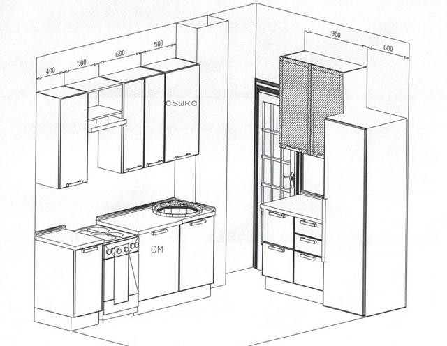 Схемы планировки кухни