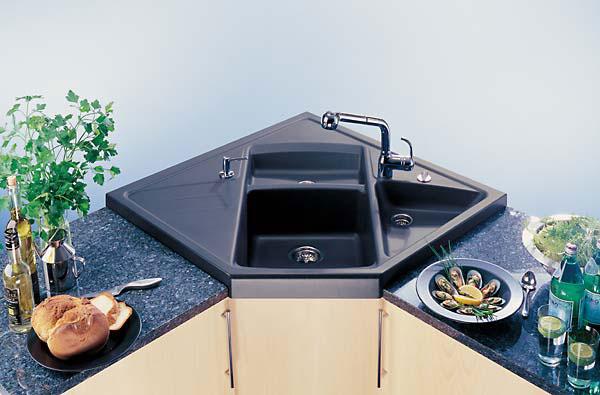 накладная угловая кухонная мойка