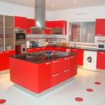 кухня красно черная