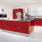 кухня красная с белым фото