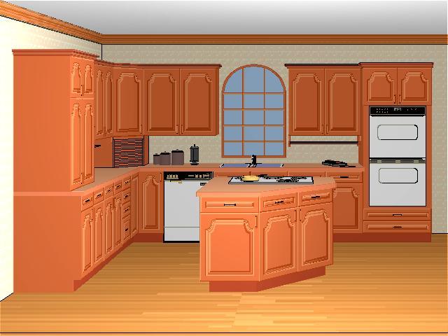 угловые оранжевые кухни фото