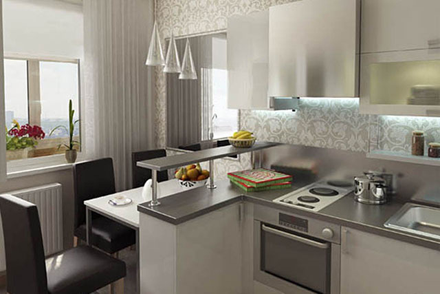 Дизайн кухни 10 кв м с барной стойкой