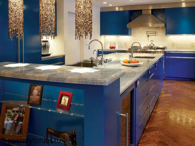 кухня синяя фото