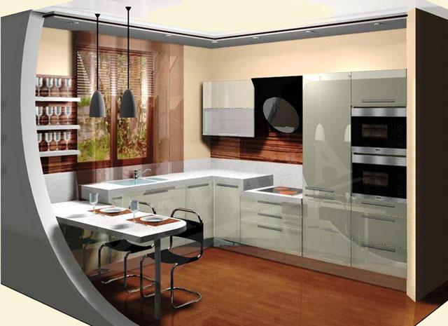 Кухня площадью 7 метров, совмещенная с гостиной