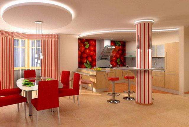Дизайн кухни из гипсокартона