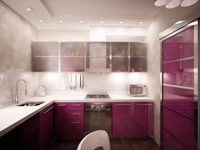 серо розовая кухня