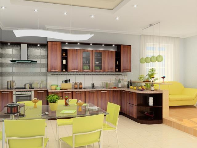 кухня в зелено коричневом цвете