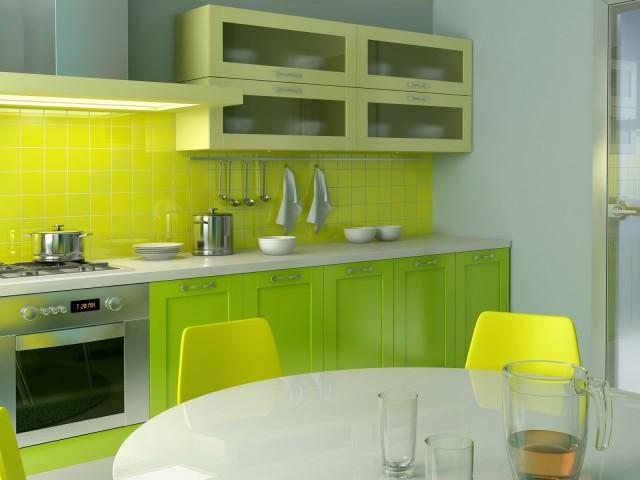 салатовая кухня в интерьере