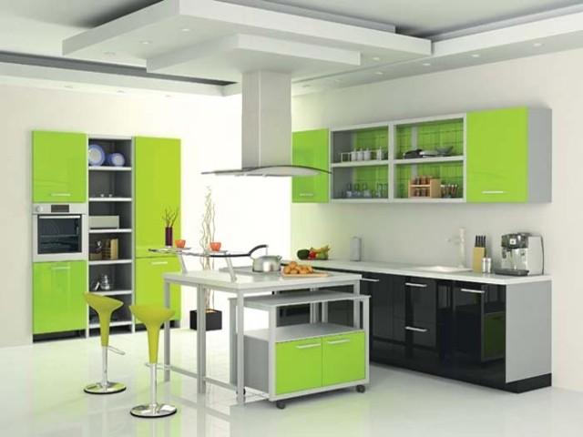 кухня салатовая с венге
