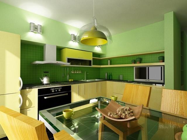 кухня желто зеленая фото