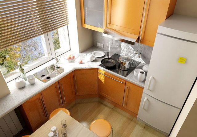 Кухня 6 квадратов дизайн с холодильником фото