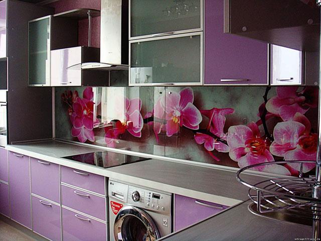 кухни в фиолетово-белом цвете фото