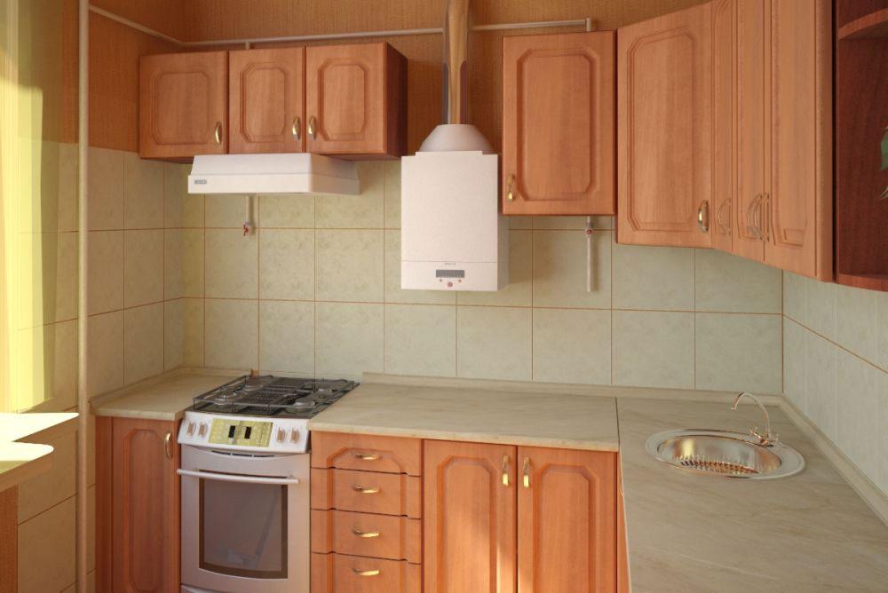 дизайн кухни 6 кв метров с колонкой