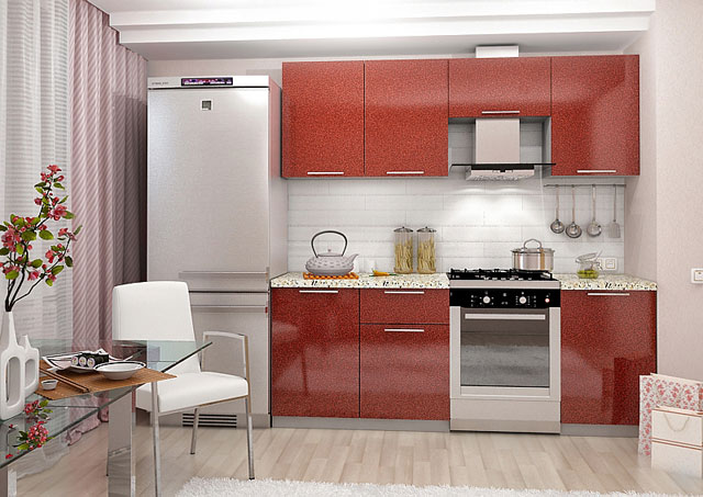 кухня бордовая с белым и серым