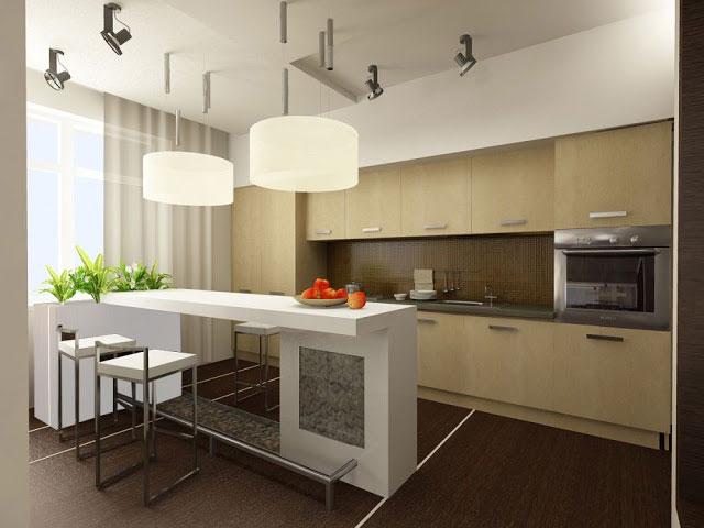 дизайн кухни в современном стиле с барной стойкой