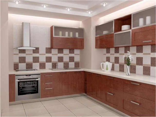 Сочетание разных типов плитки на кухне